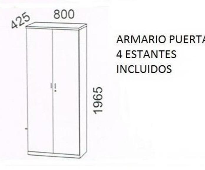 Armario de madera alto con puertas  + 4 estantes + cerradura. serie Solber