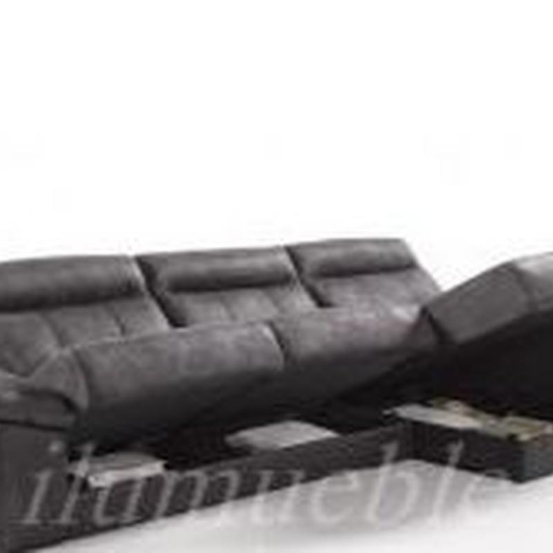 Sofá 3 plazas + Chaiselonge, relax deslizante y con arcones.