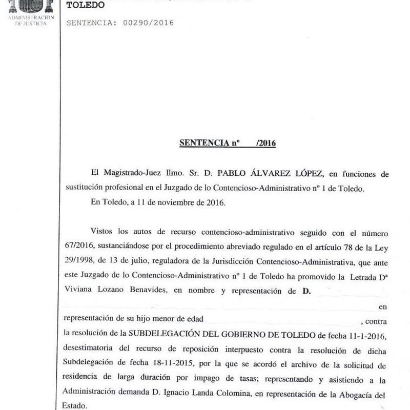 Recurso estimado por denegación de residencia por impago de tasas: Áreas Profesionales de Vizano Abogados