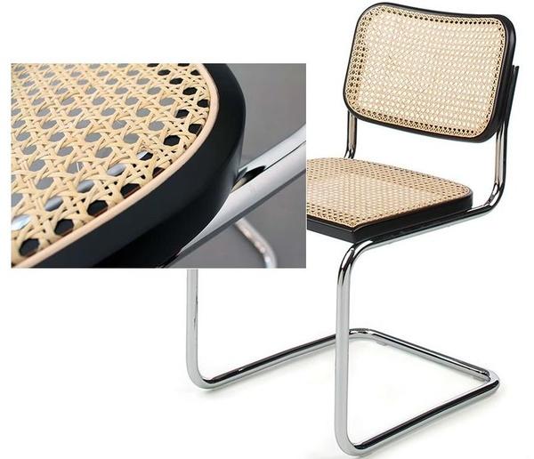 asiento de rejilla cesca con marco color negro-detalle de cerca