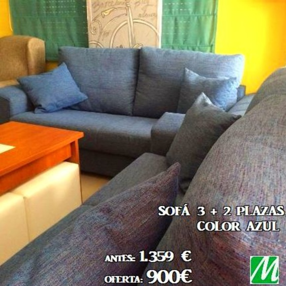 Sofá 3+2 plazas Color azul ANTES: 1.359€ OFERTA: 900€