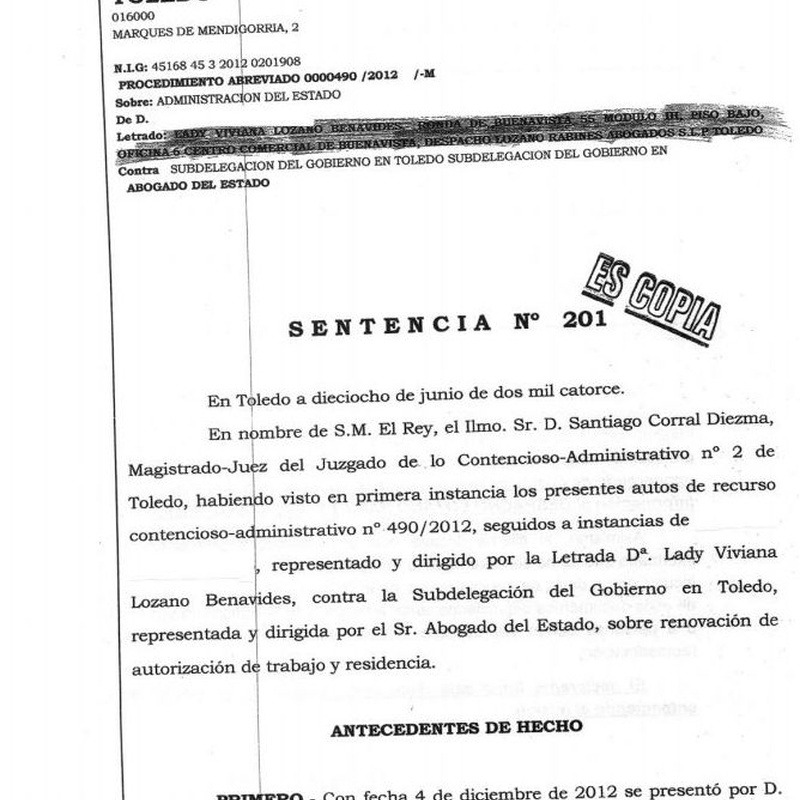 Recurso estimado por denegación de renovación de residencia: Áreas Profesionales of Vizano Abogados