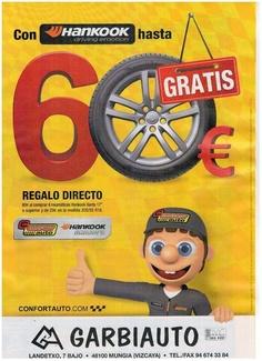 Con Neumáticos Hankook hasta 60€ Gratis