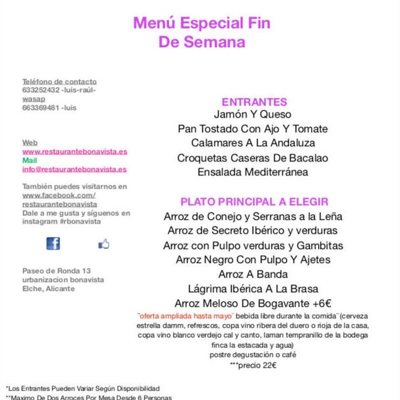 Menú de fin de semana : Carta y Menús de Restaurante Bonavista