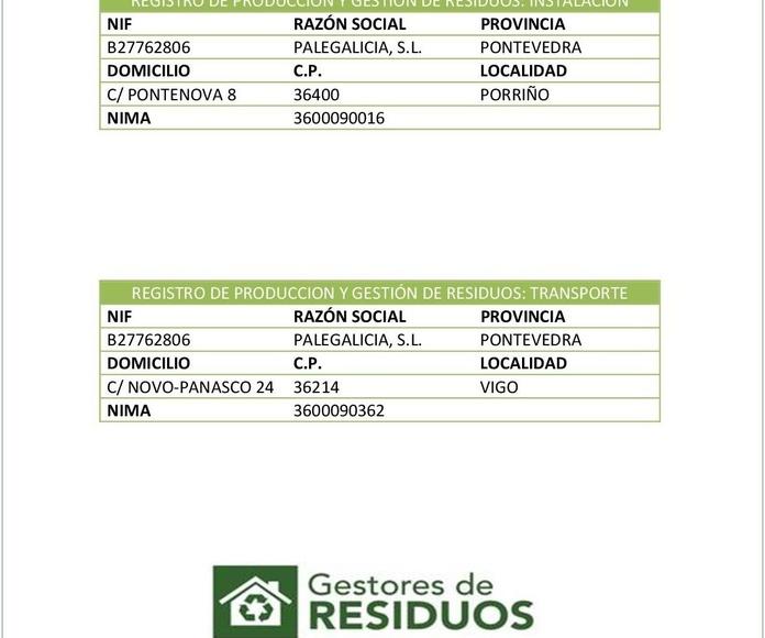 Gestores de residuos y transportistas autorizados de residuos