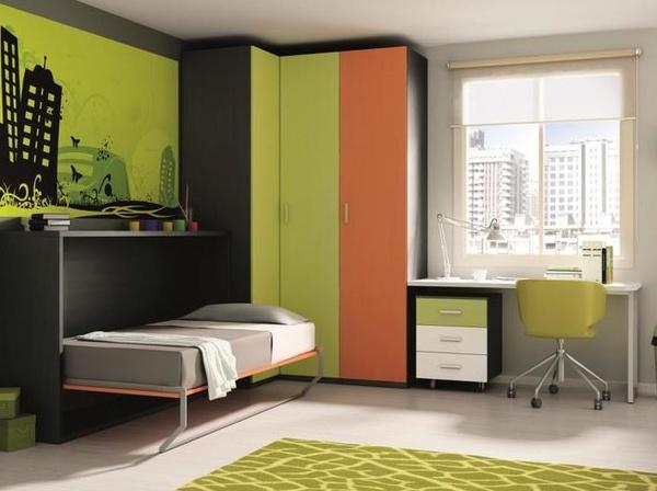 juvenil en ceniza y verde pistacho y naranja butano, con cama plegable lateral.