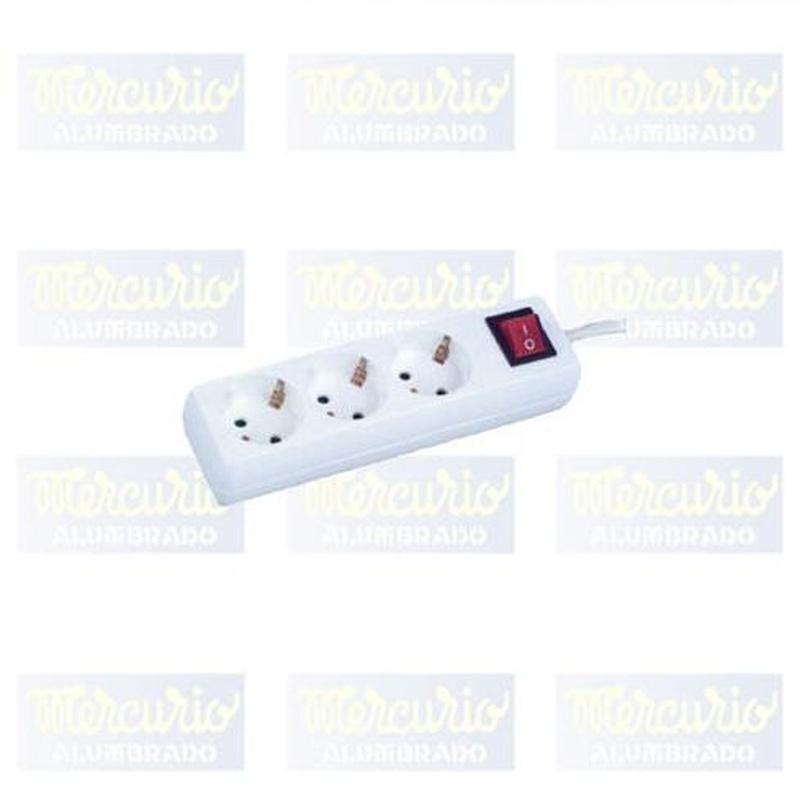 Base múltiple 3 tomas con interruptor.: Productos de Mercurio Alumbrado
