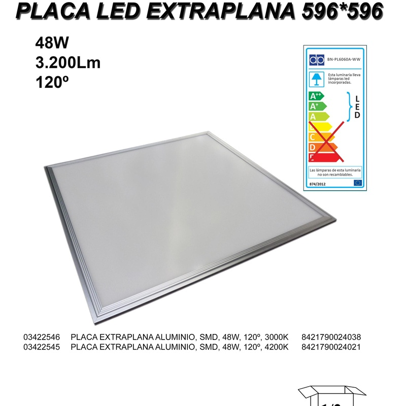 PANEL LED 48W montaje en techo desmontable.