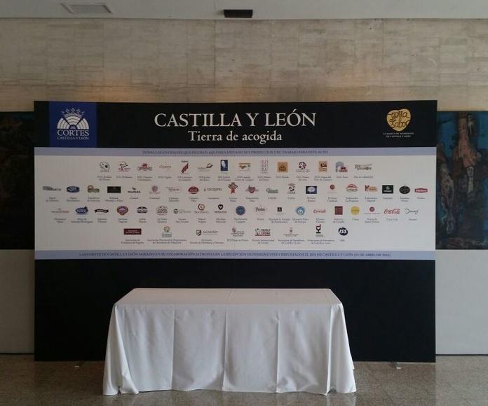 Mesa expositiva en la Cortes de Castilla y León