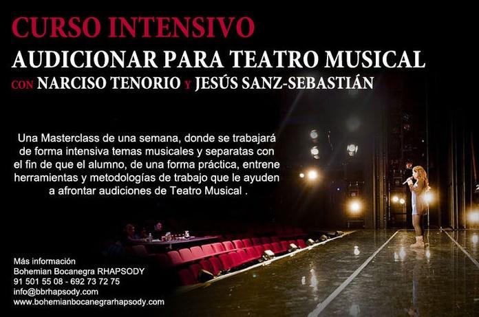 MASTERCLASS - AUDICIONAR PARA TEATRO MUSICAL - PREPARACIÓN CASTING - con Jesús Sanz-Sebastián (50 sombras de gray. El musical, ...) y Narciso Tenorio