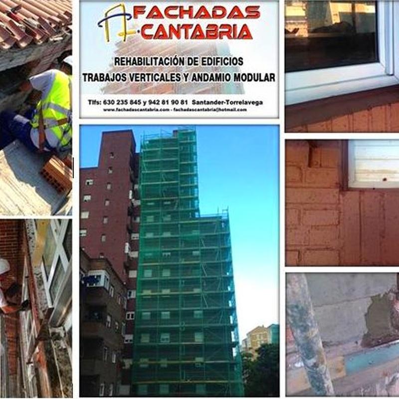 Rehabilitación de edificios en Cantabria. trabajos verticales y andamio modular.