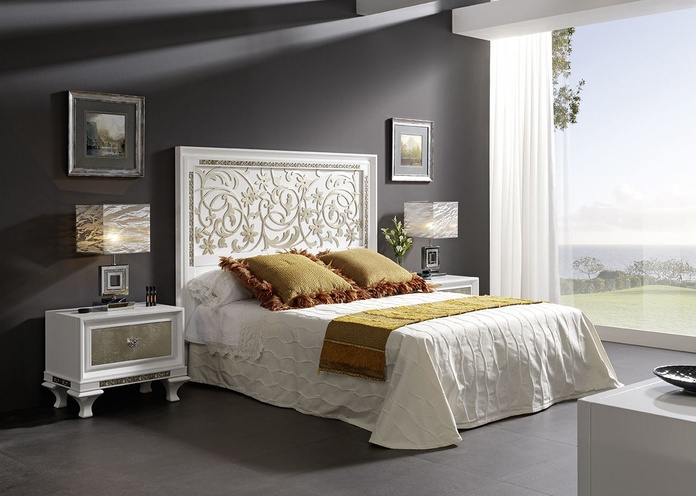 Dormitorio mod 81 Helios  blanco y pan de plata, cabezal calado, mesita 1 cajon