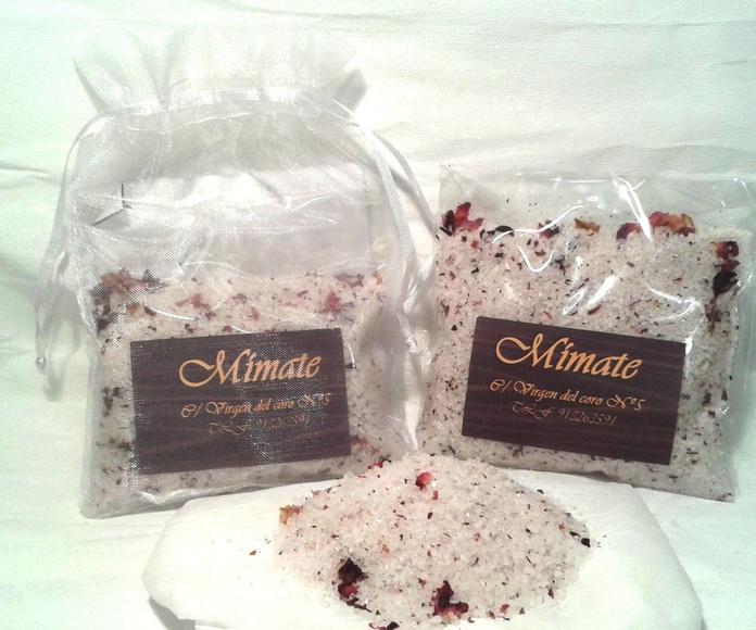 Sales de baño de Cedro, Patchoulí y Lavanda (con pétalos de rosa): Catálogo de Mímate