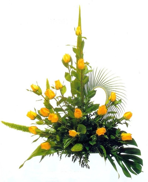 centro de rosas amarillas, envio de flores a domicilio en Madrid centro