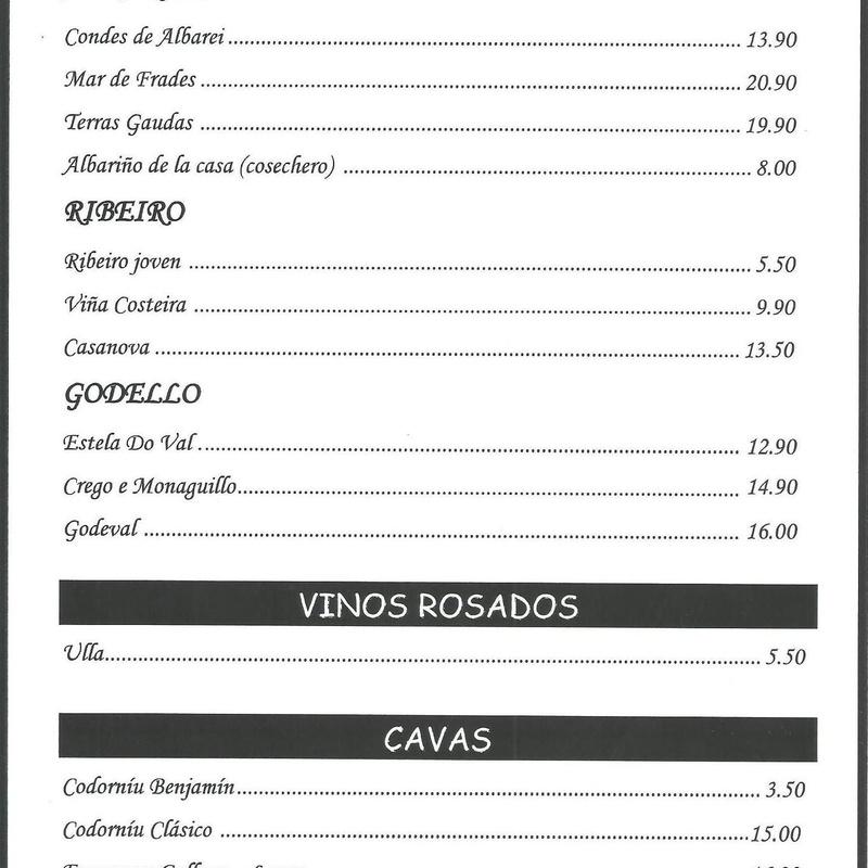 Vinos blancos, rosados, cavas - Parrillada Buenos Aires A Coruña