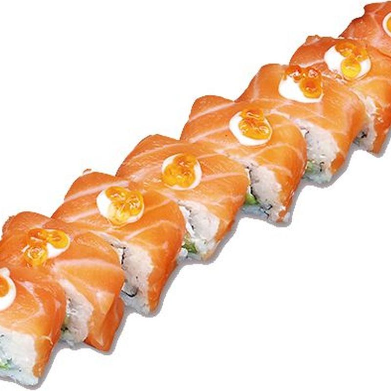 Uramaki, queso, aguacate y tapa de salmón