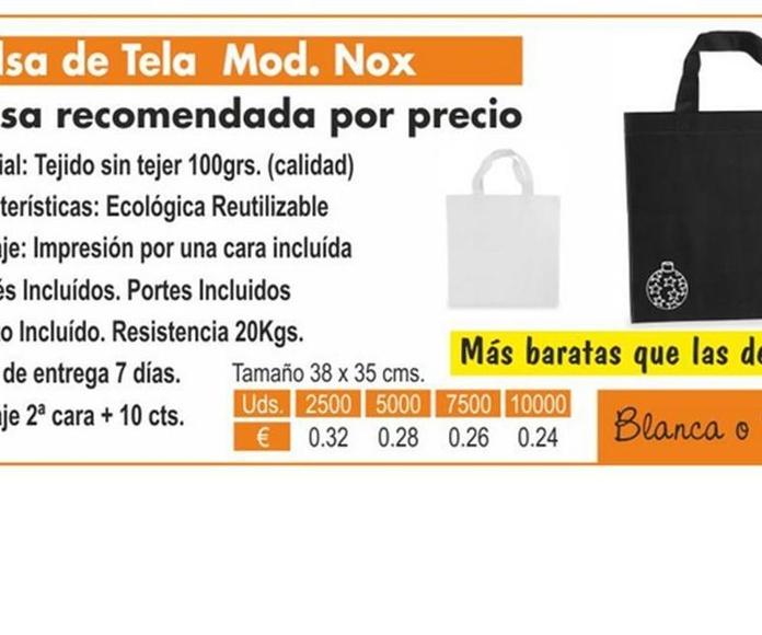 BOLSA DE TELA MODELO NOX: TIENDA ON LINE de Seriprint Serigrafia