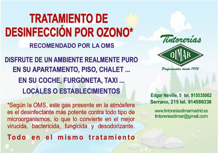 TRATAMIENTO DE DESINFECCIÓN POR OZONO: Servicios de Tintorerías Dimar