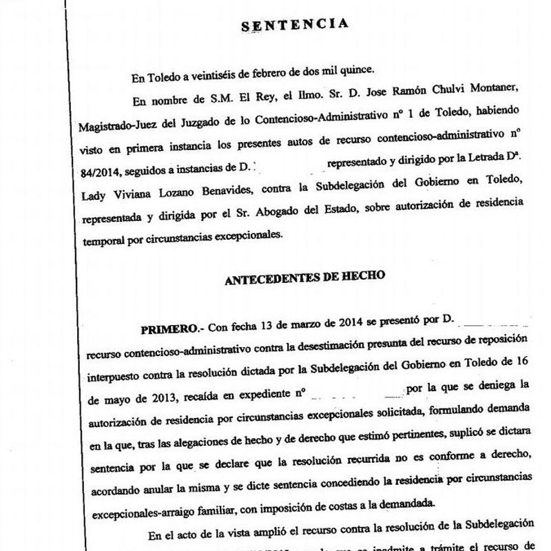 Recurso estimado denegación de residencia por arraigo familiar con antecede: Áreas Profesionales de Vizano Abogados