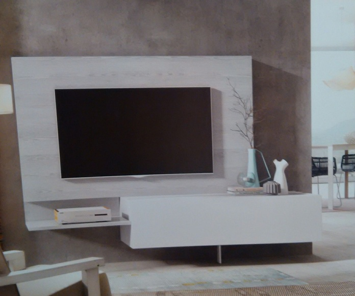 Mueble TV con panel.