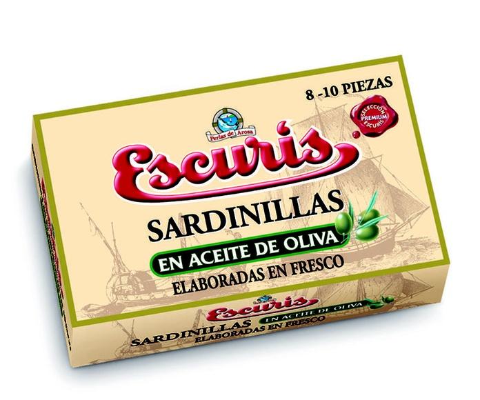 Sardinillas en Aceite de Oliva 8-10 Pierzas Marca ESCURIS