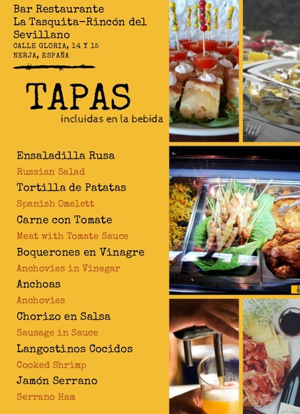 Carta Bar Restaurante Sevillano. Calle Gloria, 14-15. Nerja (Málaga).: CARTA EL SEVILLANO de Restaurante Sevillano
