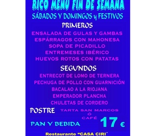 Menús15 euros fin de semana : Especialidades de Restaurante Bodegón Ciri