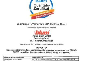 Certificado de Calidad LGA Blum