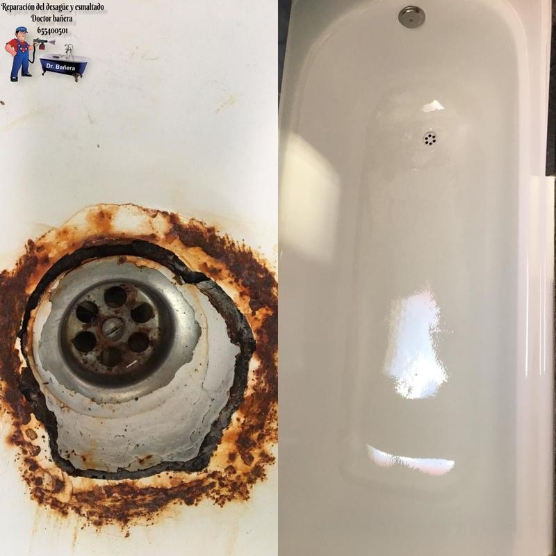Bañera con desagüe en mal estado
