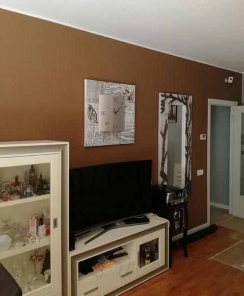 Aplicación de dos capas de pintura plástica lisa Procolor Sideral 500 color marrón.