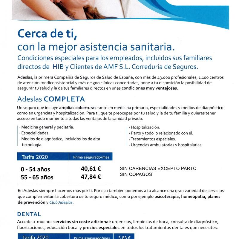 Seguro Salud Adeslas Completa SIN COPAGOS. : Seguros de AMF, S.L. Correduría de Seguros