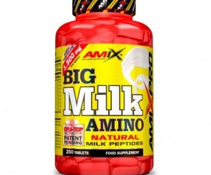 Amix™ Big Milk Amino es un novedoso complemento alimenticio en formato de comprimidos a base de péptidos de aislado de la proteína de suero de leche desnatada ultra fi ltrada. Estos péptidos contienen una mezcla de caseína micelar y proteína de suero en e