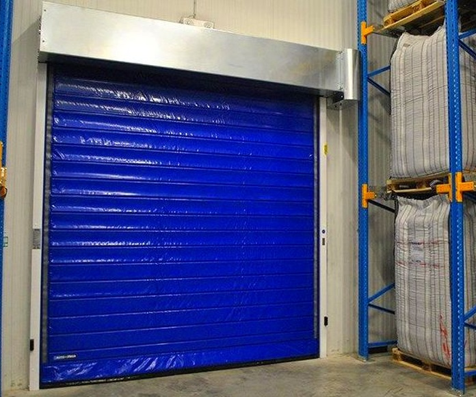 Puerta rápida conservación cortina en lona térmica enrollable autorreparable auto frigo