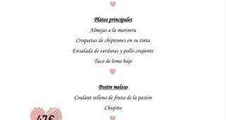 Menú especial San Valentin