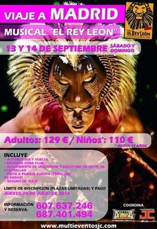 Oferta viaje a Madrid para ver el musical  El Rey León en septiembre