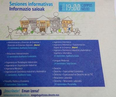 SESIONES INFORMATIVAS UNIVERSIDAD DE DEUSTO - DEUSTUKO UNIBERTSITATEKO INFORMAZIO SAIOAK