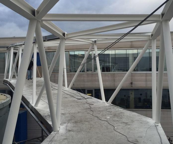 Pintura Intumescente en estructuras metálicas de techo, y Mortero proyectado en vigas de piso de puente, para una resistencia al fuego de R90.