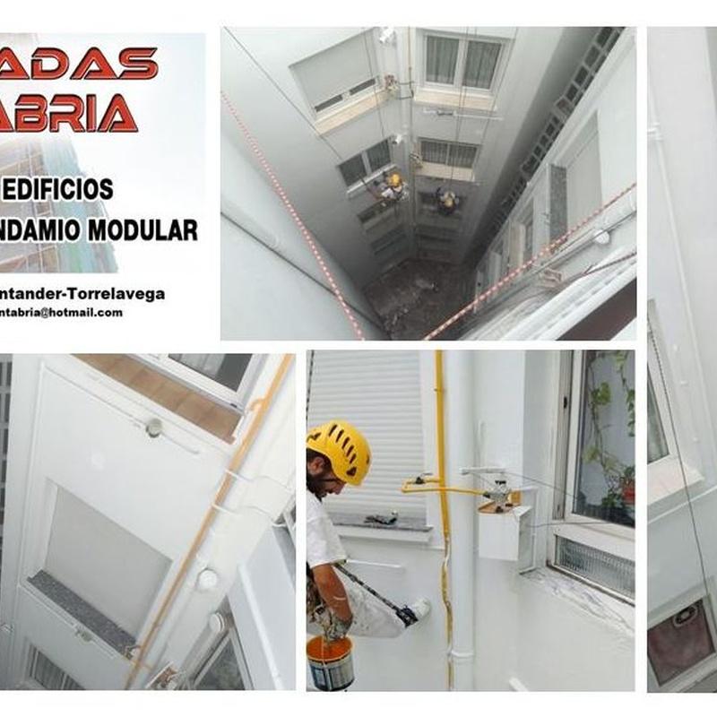Rehabilitación de fachadas en patio interior Torrelavega.