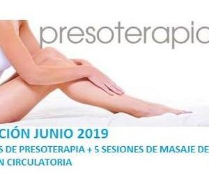JUNIO 2019 BONO 10 SESIONES DE PRESOTERAPIA + 5 SESIONES MASAJE DE DERIVACIÓN CIRCULATORIA
