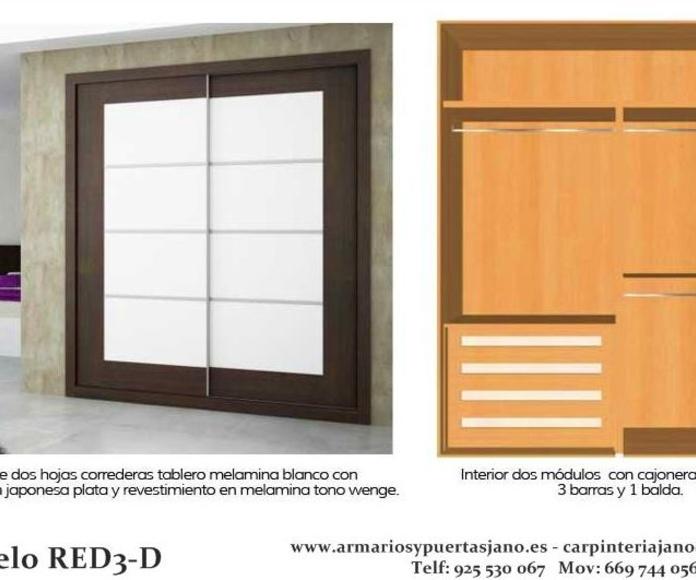 Frente e interior de armario modelo red3-d