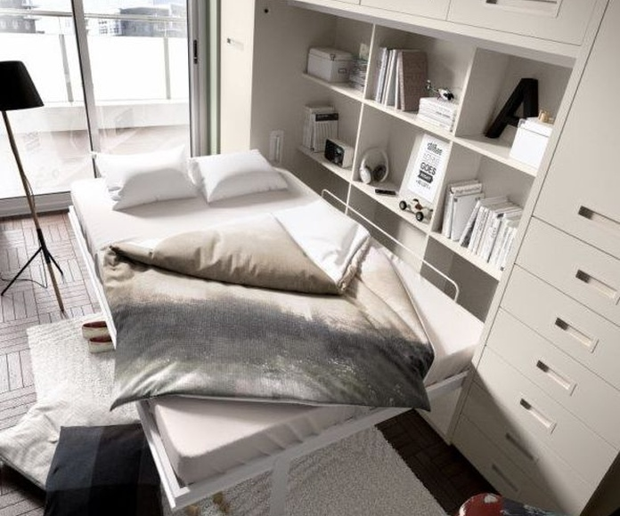 Detalle de cama abatible de 150 x 190 horizontal.