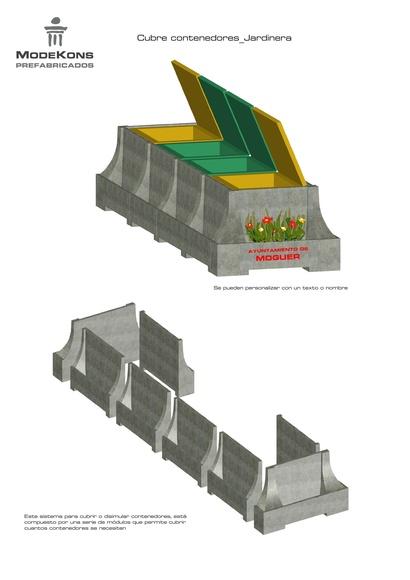 Cubre contenedores con jardinera incluida hecho módulos de hormigón