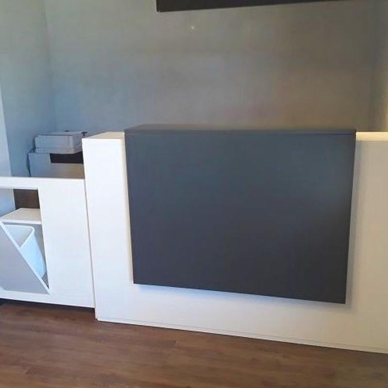 Mueble de recepción, detalle de la puerta abatible con puerta basculante y papelera.