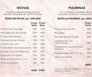 Listado de precios para Novias y Madrinas. BELLEZA INTEGRAL 10
