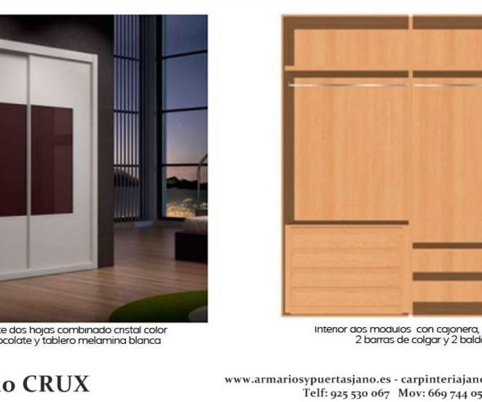 Frente e interior de armario modelo crux