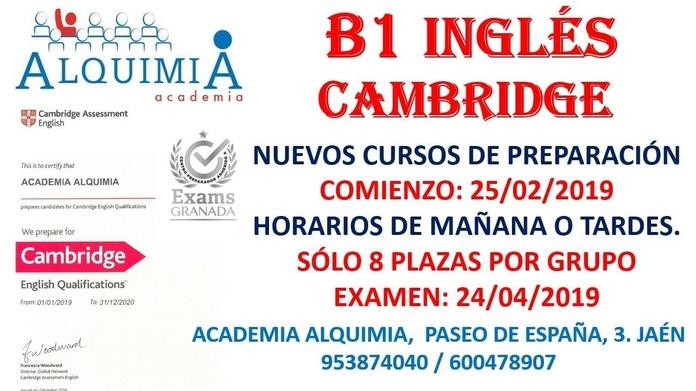 B1 INGLES CAMBRIDGE. Examen oficial 24/04/2019: NUESTRA OFERTA FORMATIVA de Alquimia