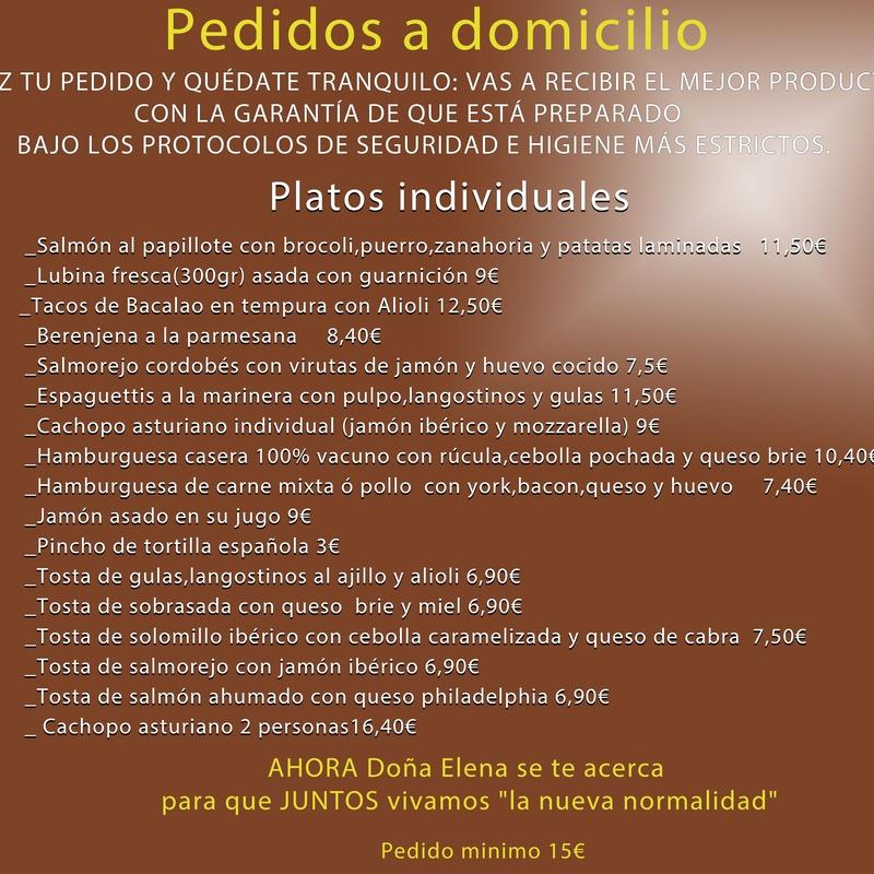 Pedidos a domicilio: Carta de Bar Restaurante Doña Elena