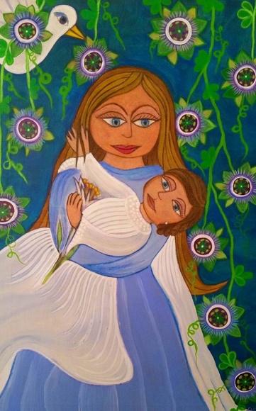 maternidad. acrilico/tela. 90x60cm. 300€.