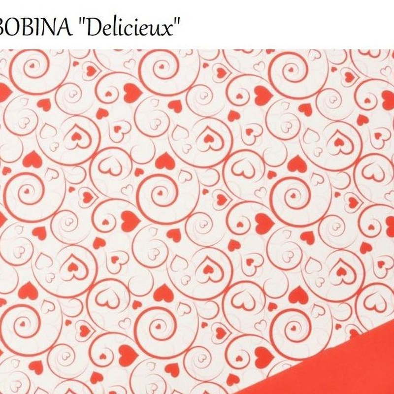 "BOBINA ""Delicieux"" (Perlada ppl 40my) 0,70x40MT/ ROJO-BLANCO REF: DEL-200 PREC€IO: 13,50"