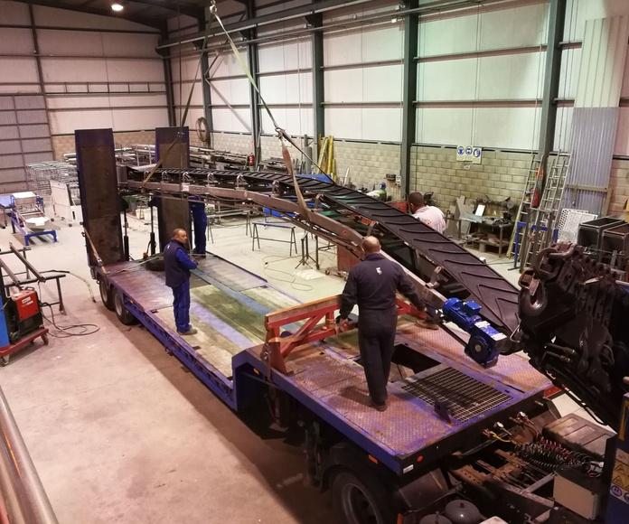 Fabricación y Montaje Cinta Transportadora 12 mts Inoxidable Cuello Cisne